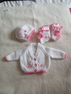 """Pink And White  Cardigan Bonnet Mittens And Booties 15"""" Chest"""