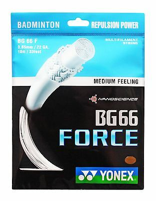 Genuine Yonex BG66F  Badminton String BG 66 Force - 10m - White - Free UK P&P