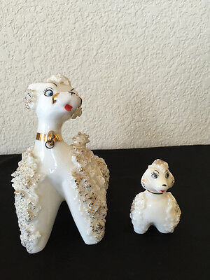 Vintage Figurine White Gold Ceramic Spaghetti Poodle w Puppy 2 Dogs Neck Loop