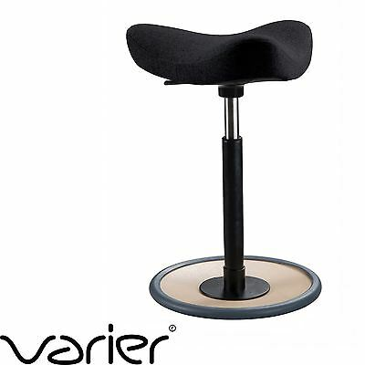 VARIER MOVE Kids Active Sitting Stool Chair BLACK Fabric & Nautral Ash Wood Base