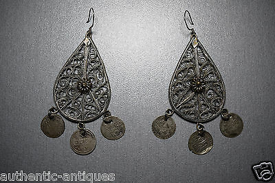 Gorgeous Vintage Filigree Silver plated+Silver Ottoman Coins Folklore EARRINGS