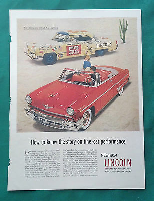 1954 Automobile Magazine Ad ~ Lincoln ~ Ruppert Motors Pomona CA Stock Cars