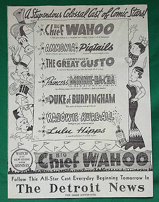 1936 Detroit News Comic Strip Characters ~ Chief Wahoo ~ Mortimer ~ Pigtails