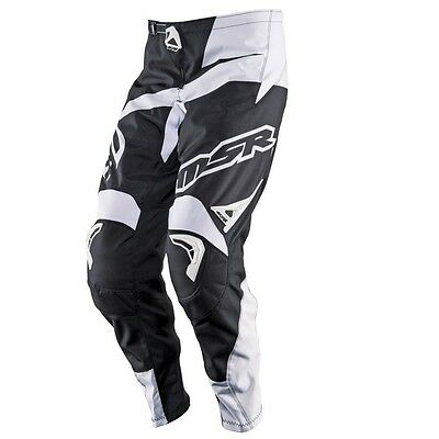 MSR Axxis Adult MX Motocross Pant Black White Off Road Dirt Bike Enduro Trousers