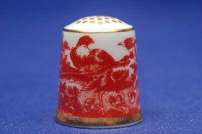 Royal Crown Derby Red Aves China Thimble B/76