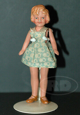 """Shirley Temple 1930s Miniature 4"""" Painted Bisque Doll Wire Jointed Germany A/O"""