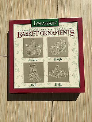 LONGABERGER 1994 PEWTER BASKET Christmas ORNAMENTS - Set of 4 in box