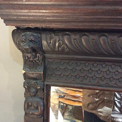Large Antique Carved Oak Mirror Gothic Overmantle Caryatids Lions 19th Century
