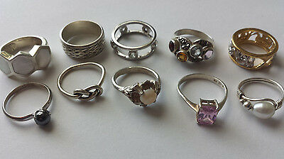 10 Ring lot Sterling silver 925 SMALL SIZES Opal, Gemstones, MOP, Hematite