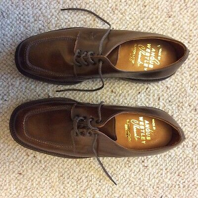 Men's Angus Westley Vintage Handcrafted in England, Brown Leather Shoes Size 7