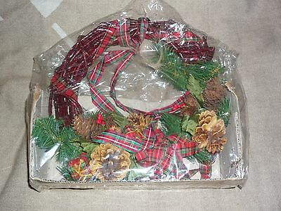 Christmas Presents Pinecones & Red Ribbon New (from early 90's) Christmas Wreath