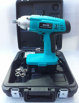"Moss 24v Cordless Impact Wrench Gun 1/2"" Drive Reversible & Carry Case"