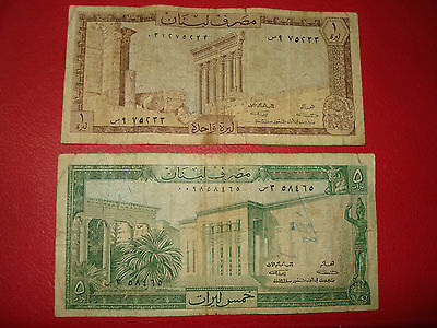 Lebanon 1, 5 Livres, 1964 Banknotes, Lot of 2.