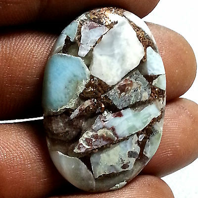 27.89 Cts Natural New Copper Larimar Classy Oval Cabochon Untreated Gemstone