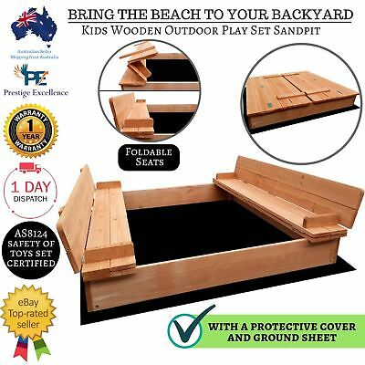 Kids Sandpit Square Outdoor Play Set Wooden Sand Pit Beach Toy Box Backyard New