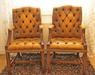 Pair of Vintage Tan Leather Chesterfield Executive Armchairs