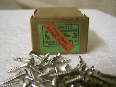 "#3 x 5/8"" Oval Head Nickel Plated Steel Screws Slotted Made in USA  Qty. 100"