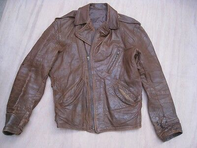 Vintage 1930s Half Belt Leather Motorcycle Jacket DISTRESSED Size SMALL