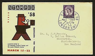 Great Britain 1958 Cover to New Zealand, Stampex Cache