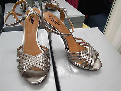 Cecille London BNIB UK 4 Divine High Heel Pewter Eve Strappy Sandals Shoes EU 37