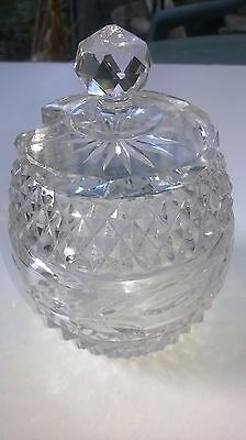 Vintage Crystal Cut Glass Jam or Mustard Pot With Lid 11 cms Tall c.1930 - 1940