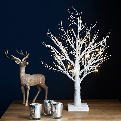 2ft Snowy Effect Table Warm White Twig Tree Pre-lit 24 LED XMAS Lights Outdoor
