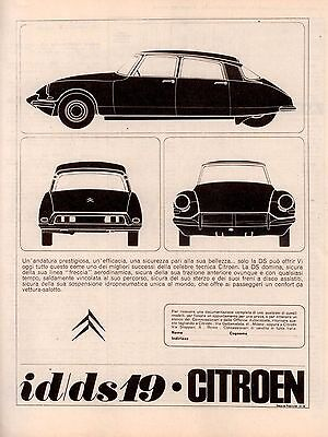 Pubblicità originale Anni 60 CITROEN id ds 19  advertising werbung reklame old