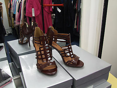 Cecille BNIB UK 4 Divine High Heel Maroon Mesh Strappy Eve Sandals Shoes EU 37