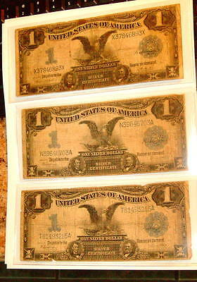 1899 Set 3 SILVER CERTIFICATE $1 BLACK EAGLE One Dollar Notes Currency