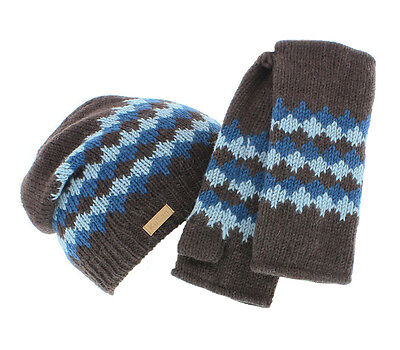 Kusan 100% Wool Beanie Hat & Matching Handwarmers (Brown/Blue)