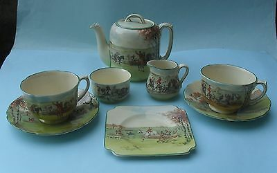VINTAGE ROYAL DOULTON 1930s SERIES WARE FOX HUNTING TEA FOR TWO SET - No. D 5104