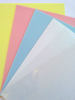 9 Sheets Pastel White Clear Assortment Coloured Shrink Plastic /Reducir Plástico