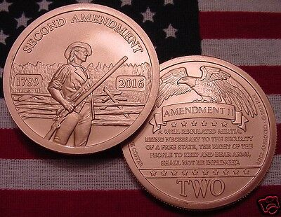 2016 2nd Amendment Copper Coin-1oz - Since 1789 - AOCS APPROVED - Nice - 1saw