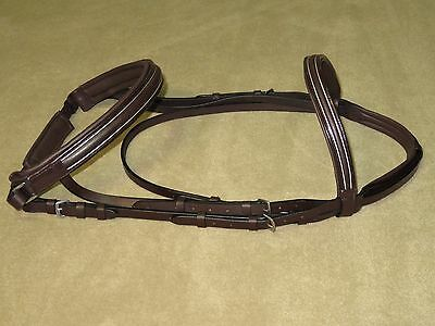 LIGHT USE~Flashy Padded MONOCROWN Snaffle Bridle w/PATENT LEATHER & SILVER TRIM