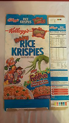 "Kellogg's ""Holiday"" Rice Krispies -Grinch Stole Breakfast -Empty Cereal Box-2001"