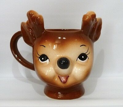 POTTERY BARN KIDS Cheeky Reindeer Figural Christmas Mug, NEW