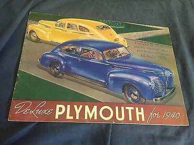 1940 Plymouth Special Deluxe  Large Color Brochure Catalog Prospekt