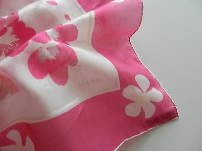 Vintage VERA NEUMANN signed and tagged silk scarf pink and white flowers
