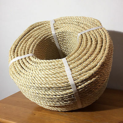 8mm x 220m Sisal Rope 100% Natural Fibre Cat Scratch, Decking, Garden, Arbour