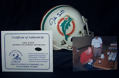 JAKE SCOTT MIAMI DOLPHINS 1970's THROWBACK AUTOGRAPHED MINI HELMET