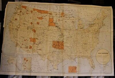 """1885 Historic and Authentic 22x34"""" Map of Native American Indian Reservations"""