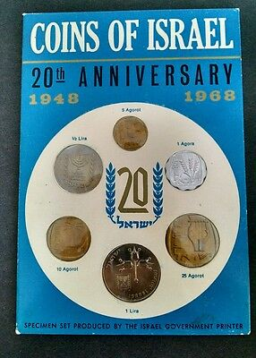1968 Coins of Israel 20th Anniversary Proof-Like Coin Set. Well Kept set! LOOK!!