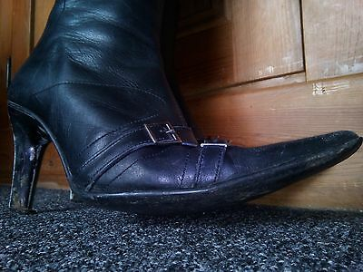 Ladies Real Leather Well Worn High Heel Boots, UK Size 5