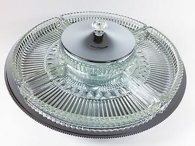 NIB NEW Vintage Kromex Lazy Susan Serving Tray Glass Silver Chrome Mid Century