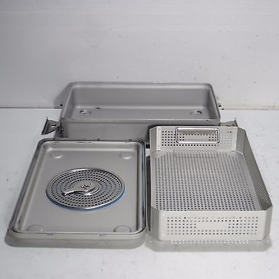 """Case Medical Steril Container System 17 X 11 X 3.5"""" Sterilizer Tray W/ Basket"""