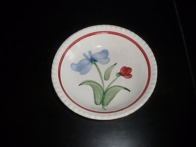 Blue Ridge Pottery Hand Painted Blue and Red or Burgundy Flower Berry Bowls