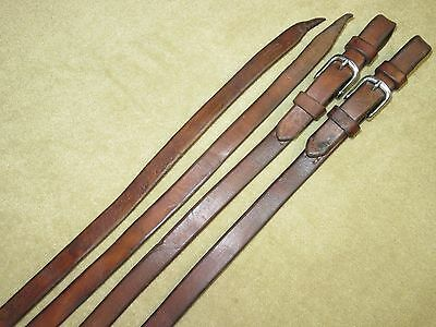 GUC~Awesome SCHUTZ BROS Western Brown HARNESS LEATHER Work Reins~BUCKLE BIT ENDS