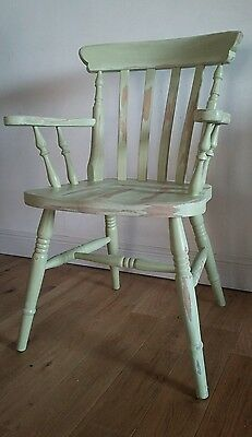 Large Vintage Painted Shabby Chic Captains Chair Deco Green