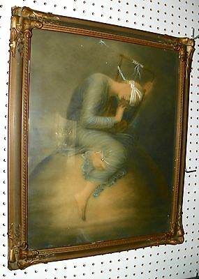 Lovely Lady Sitting on Top of the World....Justice? Old Frame, Wavy Glass