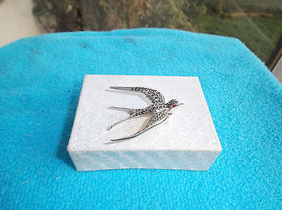 Sterling Silver, Swallow And Marcasite Brooch